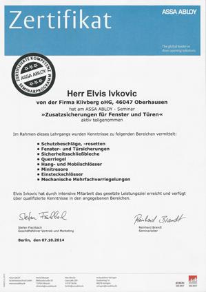 Türsicherungen - Zertifikat Schulung Zeiss Ikon